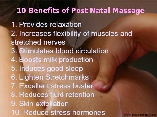 benefits of post natal massage