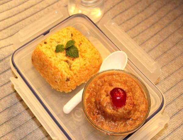 tomato rice and moong dal halwa