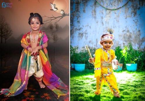 Janmashtami dress for babies and kids Radha Lord Krishna