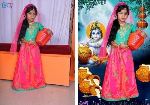 Janmashtami dress for babies and kids Radha