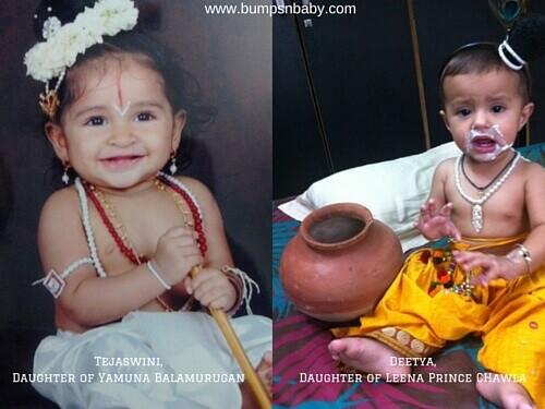 Janmashtami dress for babies make up