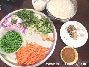 Vegetable pulao ingredients