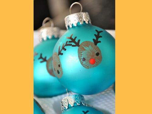 Christmas crafts for kids finger print ornament