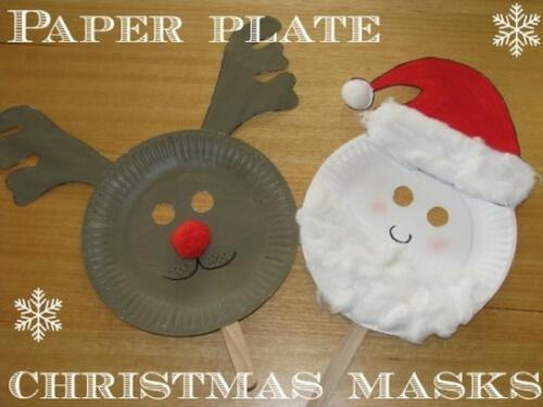 Christmas crafts for kids paper plate masks