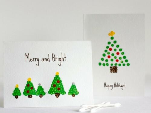 Christmas crafts for kids q tip xmas tree