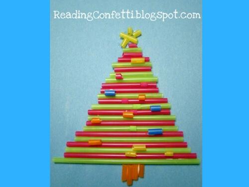 Christmas crafts for kids straw xmas tree