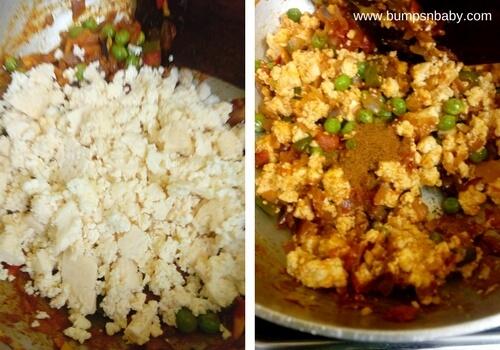 add paneer in masala paneer bhurji