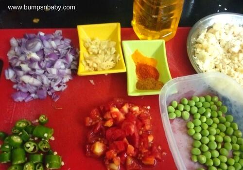 ingredients for masala paneer bhurji for kids