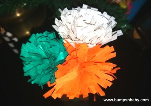 tricolour crepe paper flowers