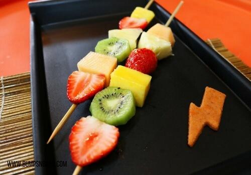 First birthday party menu fruit kebabs
