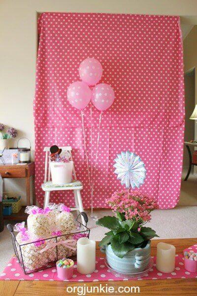 Birthday party theme for girls polka-dot-photo-backdrop
