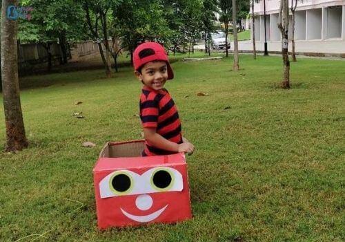 Lockdown activities for kids cardboard car