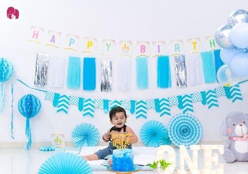 First Birthday Theme for Boys blue theme